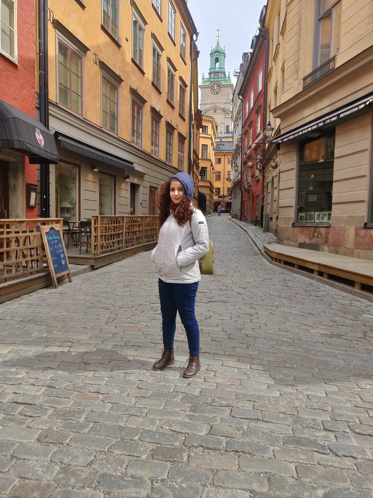 Narrow streets of Gamla stan, lined by Cafes